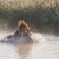 Dziewczyna kąpiąca się z koniem wielkopolskim w rzeczce