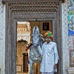 Portret Hindusa z klaczą Marwari w bramie haveli w Mandawie