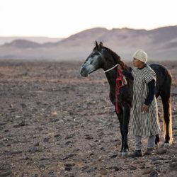 Berber z koniem na kamienistej pustyni w Maroku